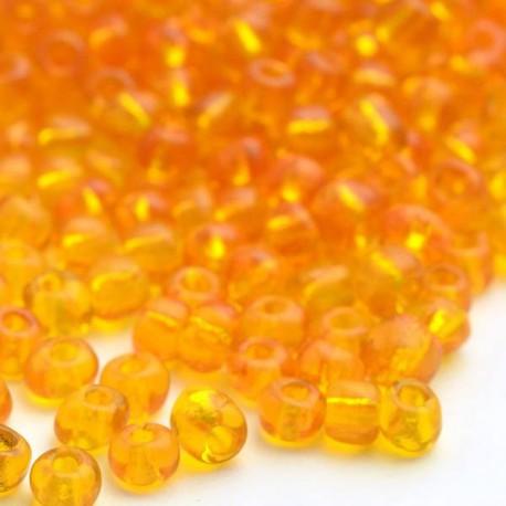 Sachet 50 gr perles de rocaille orange transparentes - 3 mm