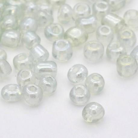 Sachet 50 gr perles de rocaille blanc transparentes nacrées - 3 mm