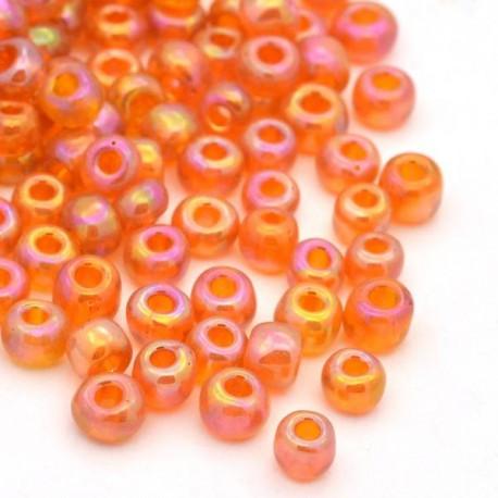 Sachet 50 gr perles de rocaille orange transparentes irisées - 3 mm