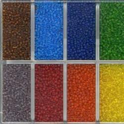 Sachet 50 gr perles de rocaille transparentes avec liseré - 3 mm