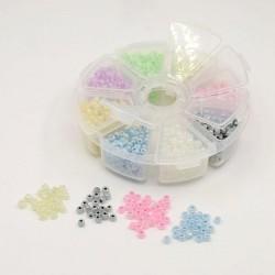 Boite 8 compartiments Perles de rocailles ceylon - 4 mm