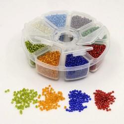 Boite 8 compartiments Perles de rocailles transparentes avec liseré - 3 mm