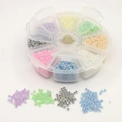 Boite 8 compartiments Perles de rocailles ceylon - 3 mm