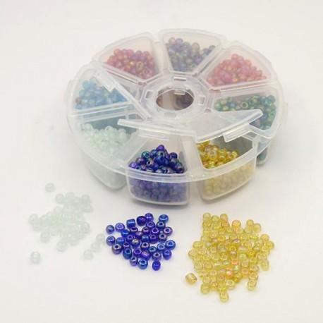 Boite 8 compartiments Perles de rocailles transparentes irisées - 4 mm