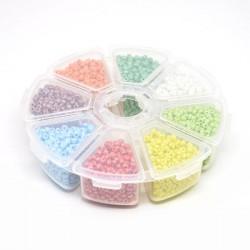 Boite 8 compartiments Perles de rocailles opaques nacrées - 3 mm