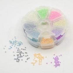 Boite 8 compartiments Perles de rocailles ceylon - 2 mm