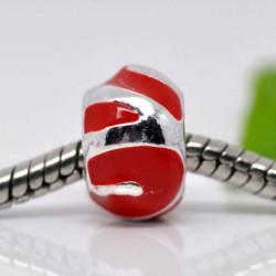 Métal Boule émail rouge style Pandora - à l'unité