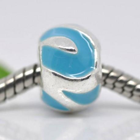 Métal Boule émail turquoise style Pandora - à l'unité