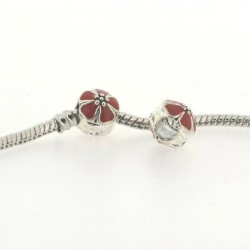 Métal Fleur ronde émail rouge style Pandora - à l'unité