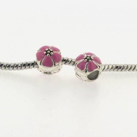 Métal Fleur ronde émail rose style Pandora - à l'unité