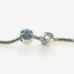 Métal Fleur ronde émail turquoise style Pandora - à l'unité