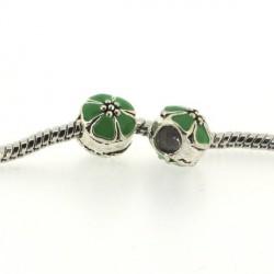 Métal Fleur ronde émail verte style Pandora - à l'unité