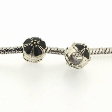Métal Fleur ronde émail noir style Pandora - à l'unité