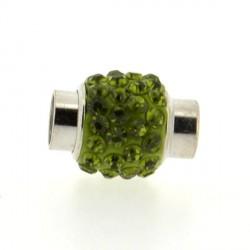 Fermoir magnétique tube strass vert olive, 6 mm