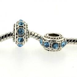 Métal Rondelle strass turquoise style Pandora - à l'unité