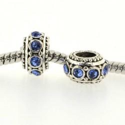 Métal Rondelle strass bleu style Pandora - à l'unité