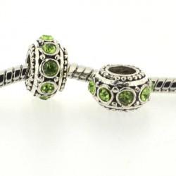 Métal Rondelle strass vert style Pandora - à l'unité