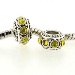 Métal Rondelle strass jaune style Pandora - à l'unité