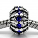 Métal Oursin strass bleu style Pandora - à l'unité