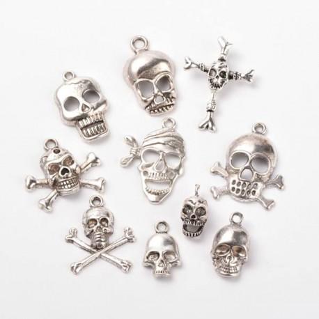 Pendentifs breloques Têtes de Mort x 10