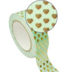 Masking Tape vert Coeurs dorés effet métallisé - 15 mm x 10 m