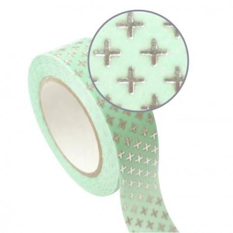 Masking Tape vert Croix argentées effet métallisé - 15 mm x 10 m