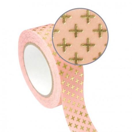 Masking Tape rose Croix dorées effet métallisé - 15 mm x 10 m