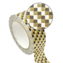 Masking Tape damiers dorés effet métallisé - 15 mm x 10 m