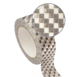 Masking Tape damiers argentés effet métallisé - 15 mm x 10 m