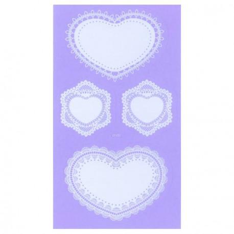 Stickers dentelle Coeurs - 8 pièces