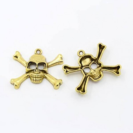 Pendentif breloque en métal Tête de mort, dorée