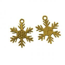 Pendentif breloque en métal Flocon de neige, doré