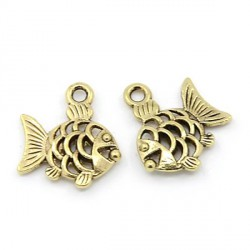 Pendentif breloque en métal petit Poisson, doré
