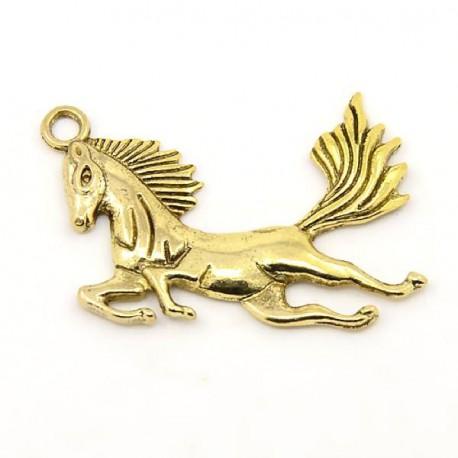 Pendentif breloque en métal Cheval, doré