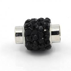 Fermoir magnétique tube strass noir, 6 mm