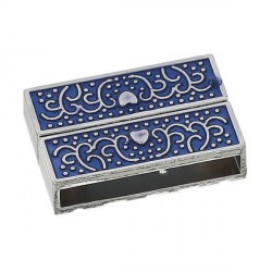 Fermoir aimanté émail bleu 32 mm