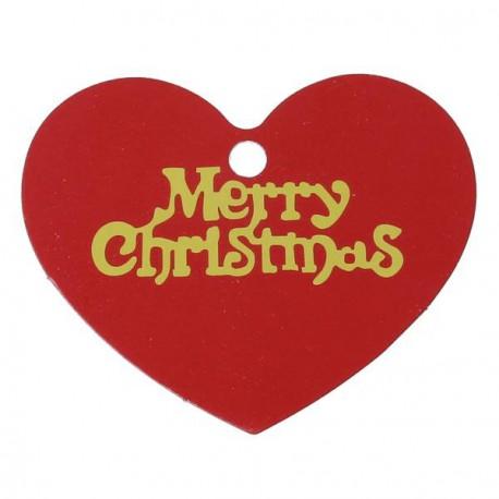 Etiquette Coeur Merry Christmas papier cartonné