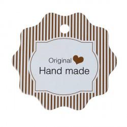 Etiquette Hand Made papier cartonné café