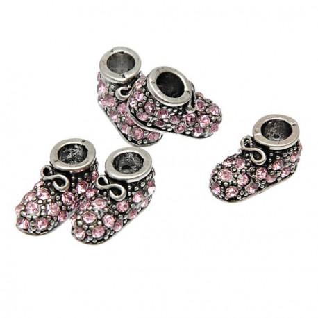 Métal Chausson strass rose style Pandora - à l'unité