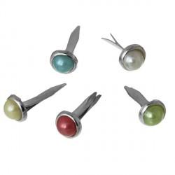 Attaches parisiennes perles rondes multicolores - 50 pièces