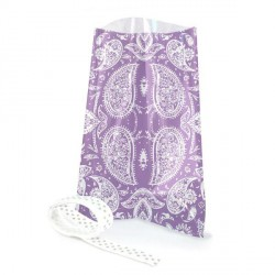 12 sachets transparents avec rubans  - Cachemire violet 12 x 18 cm