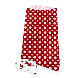 12 sachets transparents avec rubans  - Pois rouge 12 x 18 cm