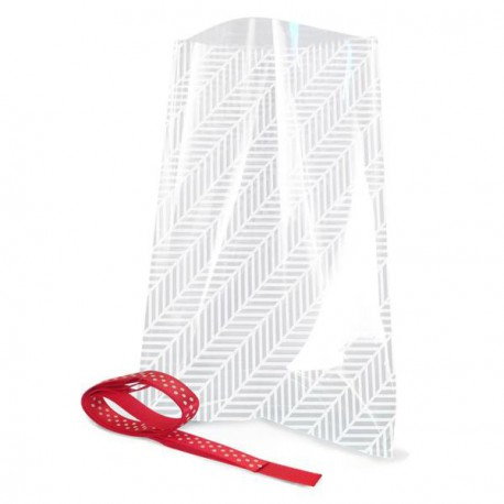 12 sachets transparents avec rubans  - Striés blancs 12 x 18 cm