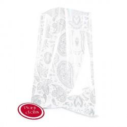 12 sachets transparents avec étiquettes  - Cachemire blanc 12 x 18 cm
