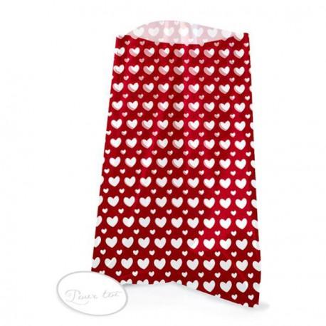 12 sachets transparents avec étiquettes  - Coeurs rouge 12 x 18 cm