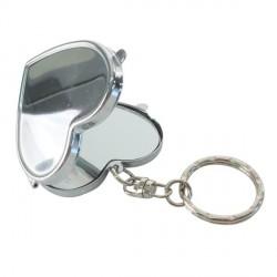 Porte clé miroir coeur métallique à décorer