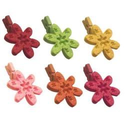 Fleurs dentelle en feutrine sur pince 25mm