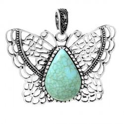 Pendentif breloque Papillon avec turquoise, argenté