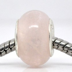 Perle en Quartz rose style Pandora - à l'unité