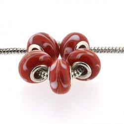 Perle de verre rouge aux volutes blanches style Pandora - à l'unité